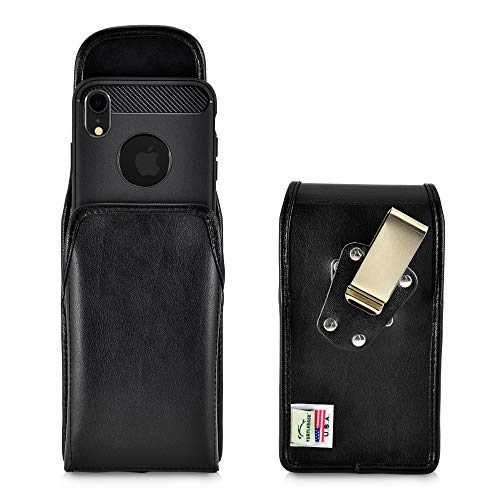 (Leather Carry Case Holster for iPhone XR | USA Made | Vertical with Metal Rotating Ratcheting Belt Clip by Turtleback)