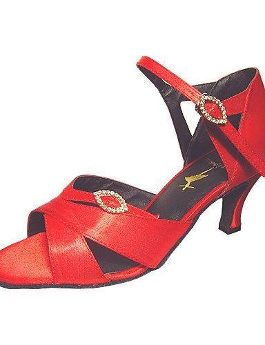 ShangYi Anpassen Performance Tanzschuhe aus Satin Latin Schuhe für Frauen , red-wide