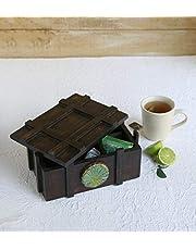 Handcrafted Wooden Kitchen Organiser Storage Chest Tea Box Condiments Organizer with Latch Decorative Handmade Kitchen Accessories for Gifting Purpose by Storeindya