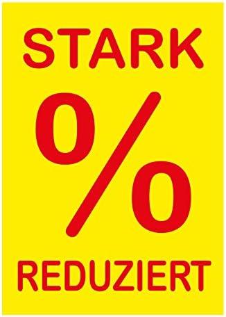 """10 Werbeplakate""""STARK REDUZIERT"""" DIN A4 gelb/rot, Kundenstopper - Aufsteller - Plakate - Plakatkarton [P-A4-1]"""