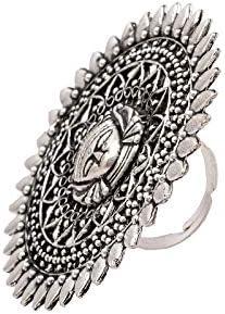 Zephyrr Tibetan Adjustable Ring Silver Tone Casual Daily Wear Tribal Statement Jewelry for Women JR-103