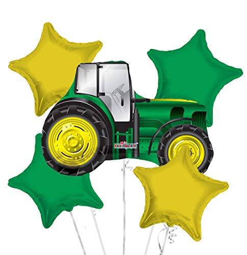 Happy Birthday Tractor Balloon Bouquet Party Supplies (John Deer Birthday)