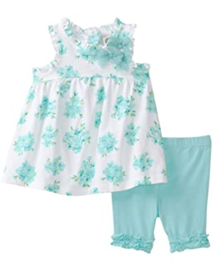 Baby-Girls Newborn Flower Bundle Tunic Set