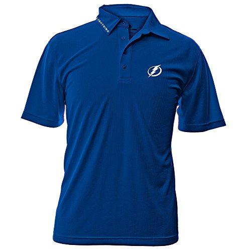 Levelwear NHL Tampa Bay Lightning Adult Men Surface Wordmark Polo Shirt,Small,Royal Blue