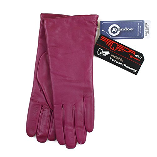 GRANDOE WOMENS LEATHER, CASHMERE LAMBSWOOL LINED SENSOR INVISIBLE TOUCH GLOVES (7.5, Raspberry)