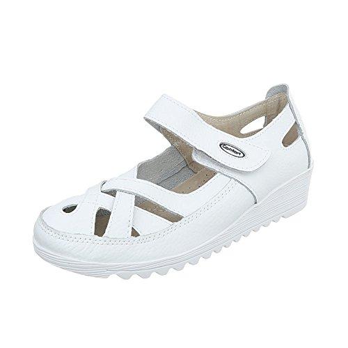 at Design Women's Wedges Court Weiß Heel Shoes Wedge 9003 Ital UXOp1q