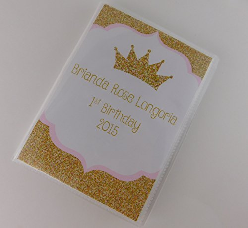 - Baby Girl Photo Album IA#663 Personalized Princess Birthday Gift 4x6 or 5x7 Picture Gold Crown Tiara Name and Message Printed on Album