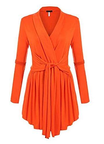 Manica Primaverile Fashion Eleganti Colori Fit Bluse Shirt Camicetta Tops Arancia Irregular Solidi Ragazza Tunica Autunno Casual Lunga Vintage Basic V Donna Slim neck Cqvw5R