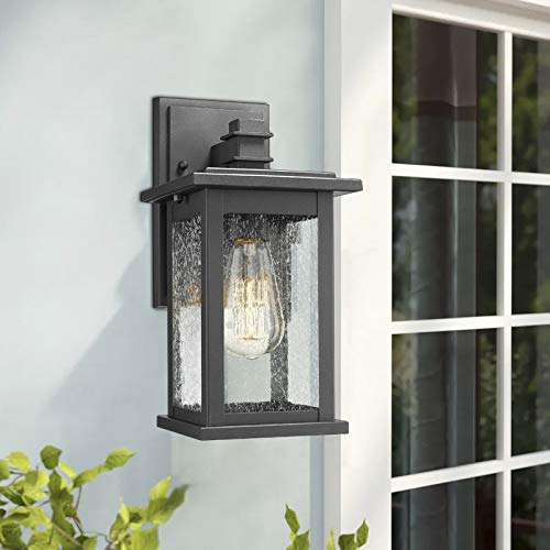 Emliviar Outdoor Wall Mount Lights 2 Pack, 1-Light Exterior Sconces Lantern in Black Finish with Clear Seeded Glass, OS-1803EW1-2PK by EMLIVIAR (Image #6)