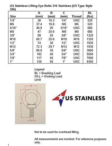 Stainless Steel 316 3//8 Lifting Eye Bolt 3//8 UNC Marine Grade