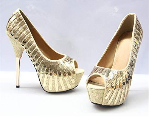 À Hnm Mariée Talons Cocktail Haut En Cristal Gold Pailleté Escarpin Mariage Shoes Chaussures De Femme Soirée qURUwXA