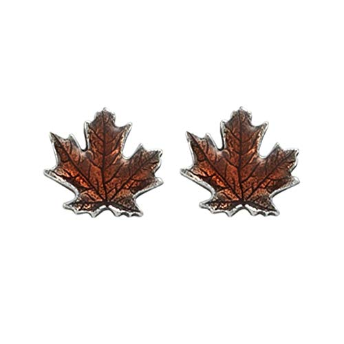 DANFORTH - Maple Leaf/Autumn Mini Post Earrings - Pewter - Surgical Stainless Steel - 3/8 Inch - Handcrafted - Made in USA ()