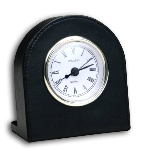 Dacasso Black Leather Desk Clock with Gold Trim