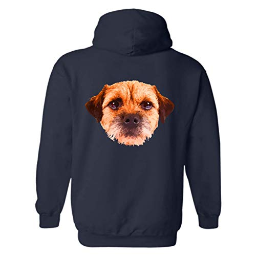 Six Crab Border Terrier Face Hoodie, Long Sleeve Sweatshirt (2XL,Navy) -