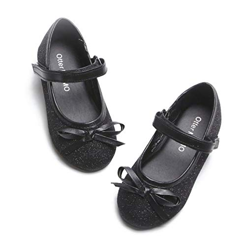 Otter MOMO Toddler Girls Ballet Flats Mary Jane Dress Shoes with Bow Knot Black (Girls Dress Flat Shoes)