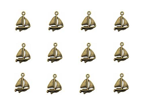 Kinteshun Sailboat Sailing Ship Charm Pendant for DIY Jewelry Making Accessaries(60pcs,Antique Bronze)