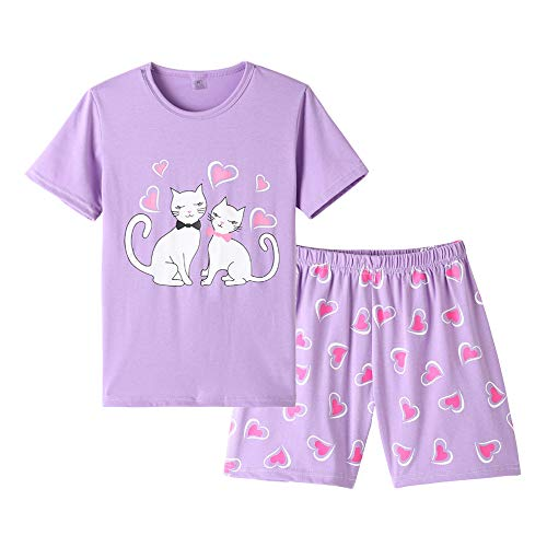 (MyFav Young Girls Pajama Cute Cat Pattern Nighty Comfy Shorts Cotton Sleepwear Purple)
