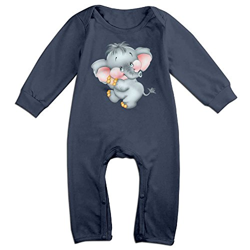 Piggie And Elephant Costumes (Baby Infant Romper Baby Elephant Long Sleeve Jumpsuit Costume Navy 12 Months)