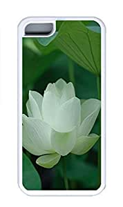 iPhone 5C Case, Personalized Custom Rubber TPU White Case for iphone 5C - White Lotus Cover