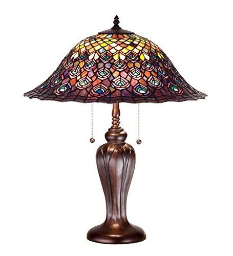 Meyda Tiffany 26666 Tiffany Peacock Feather Table Lamp, 25