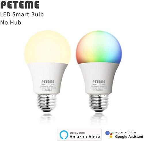 Peteme Smart Light Bulbs, Wi-Fi Led Smart Bulbs, RGB, 2 Pack