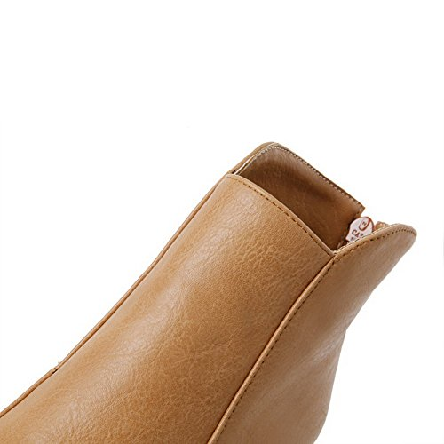 Allhqfashion high High Boots Yellow Round Soft Solid Heels Women's Toe Ankle Material Closed TzTn6gqr