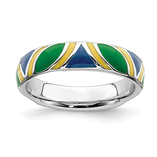 (925 Sterling Silver Multi Color Enameled Band Ring Size 8.00 Stackable Ed Blue Yellow Green Fine Jewelry Gifts For Women For Her)