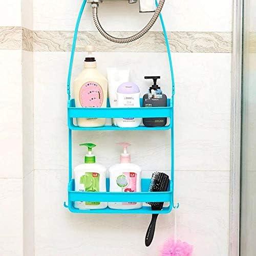 バスルームラックバスルームアクセサリーサクションカップ型多機能ポータブルストレージバスケットは中空彫り LCSHAN (Color : Gray)