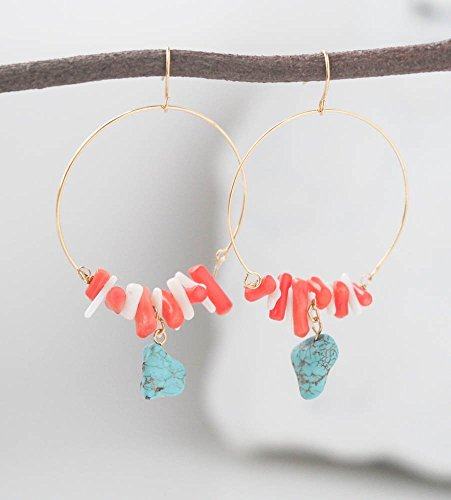 Simulated Turquoise Simulated Coral Chips Hoop Earrings