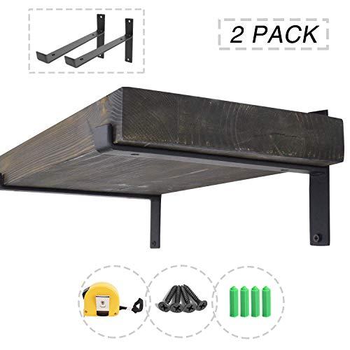 AddGrace 2 Pack Lip Brackets Black Iron Floating Shelf Industrial Decorative Shelf Wall Brackets (Black) 12