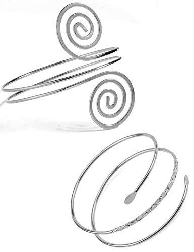 VALIJINA 2Pcs Minimalist Simple Swirl Upper Arm Cuff Bracelets for Women Girls Arm Bangle Armlets Adjustable (B) ()
