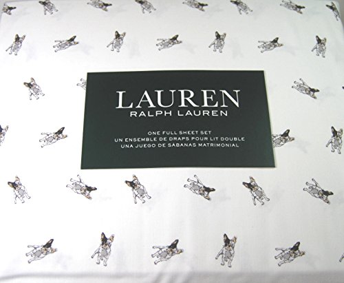 Ralph Lauren Dog - Lauren 4 Piece Full Size Sheet Set boston Terrier Dogs 100% Cotton