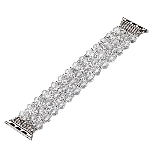 Fastgo Compatible for Apple Watch Band 38mm 40mm, Classy Retro Crystal Beaded Stretch Elastic Compatible for Iwatch Band Series 5/4/3/2/1 (White Crystal - 38mm)