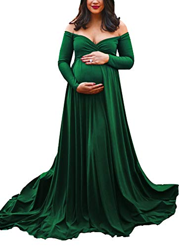 Saslax Maternity Off Shoulders Long Sleeve Half Circle Gown for Baby Shower Photo Props Dress Green M