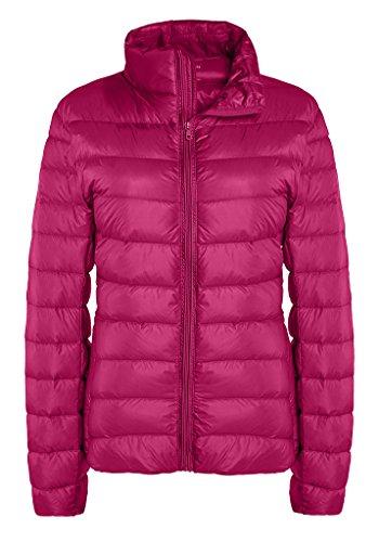 ZSHOW Women's Winter Down Coat Lightweight Packable Powder Pillow Down Jackets, US X-Small, Rose Red (Winter Powder)
