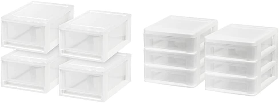 IRIS USA MSD-1 Compact Stacking Drawer, White, 6 Quart, 4-pack & Inc. CDD-XS3 Compact Desktop 3-Drawer System, Mini, White, 2 Pack