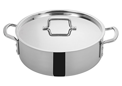 Winco TGBZ-12, 12 Quart Tri-Gen Tri-Ply Stainless Steel Brazier, with Mirror Finish Exterior and Satin Finish Interior, Commercial Grade Braiser Pan by Winco