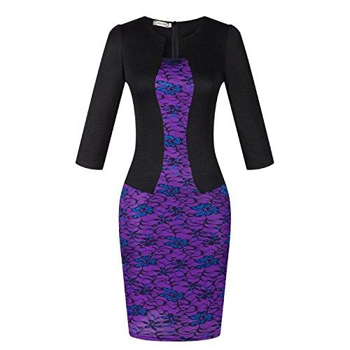 ZHUDJ Vestido Vestido De Verano _ Falsa Impresión Dos Paquetes Falda De Cadera Purple flowers