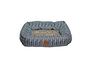 Mog & Bone Bolster Dog Bed Blue Stripe Print