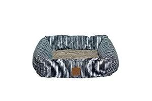 MOG & BONE Bolster Dog Bed Blue Stripe Print Large