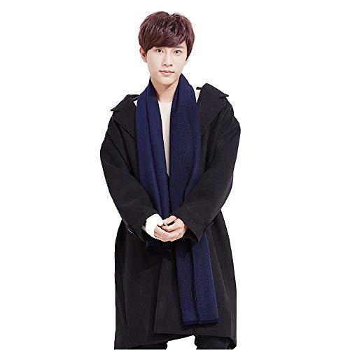 (1Pcs Men Women Scarf, Autumn Winter Imitated Cashmere Solid Color Scarf, Business Style Warm Scarf Muffler Neckerchief (Black/Blue))
