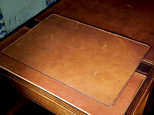 - Leather Table Pad Protector in Horween Full-Grain Leather Natural Color Desk Pad Custom Desktop Writing Mat