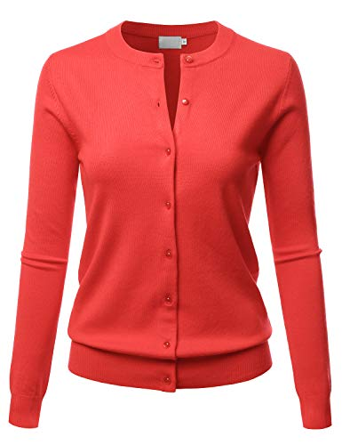 LALABEE Women's Crew Neck Gem Button Long Sleeve Soft Knit Cardigan Sweater HOTCORAL XL