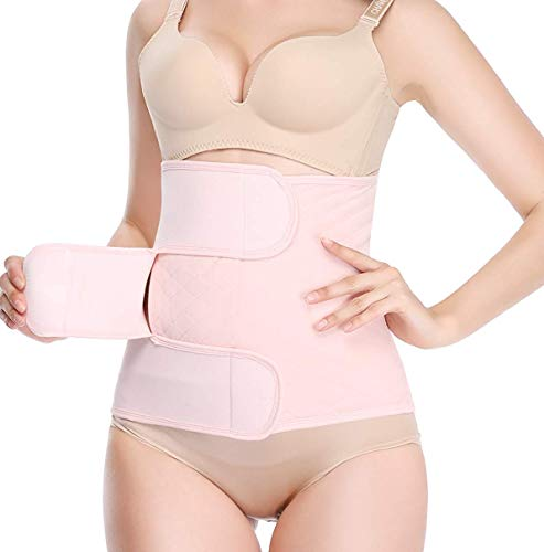 Postpartum Belly Wrap Support Recovery Belts Body Shaper C Section Girdle Shapewear (Pink, Postpartum Waist 23