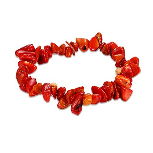 Bracelet Red Coral Chip (Natural Stone Bracelet Bangle Healing Crystal Stretch Gemstone Bracelets (Red Coral))