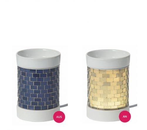 12,5/x 10/cm YANKEE CANDLE Everyday Glitter Glow EMW Electric Melt Warmer Ceramica e Vetro Blu//Bianco