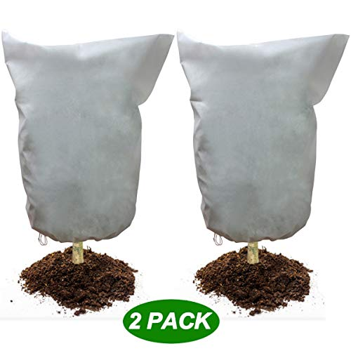 "2 Pack Plant Frost Protection Cover Bags 2.1 oz/m² Winter Warm Frost Cloth Blanket 35.4"" x 59"" Polypropylene Garden Fabric Protecting Fruit Tree Potted Plants"