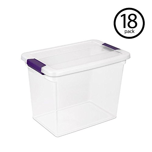 STERILITE 17631706 27 Quart Clearview Latch Box Storage Tote Container, 18 Pack