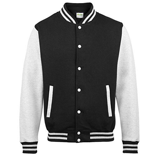 Awdis Varsity jacket - 16 Colours - Sizes XS to 2 - Jet Black/ Heather Grey - XS by Awdis