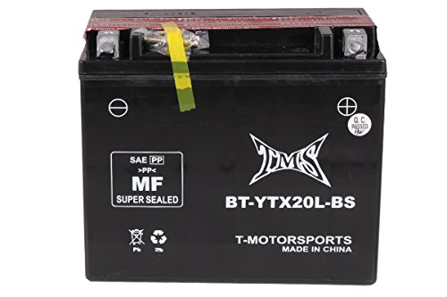 TMS Battery YTX20L-BS GTX20L-BS Maint Free Sealed Motorcycle ATV Jet Ski Snowmobile Yamaha YFM Kodiak Big Bear Wolverine Harley Softail Flst Buell Dyna Sportster Honda Rincon Fourtrax Yamaha Grizzly